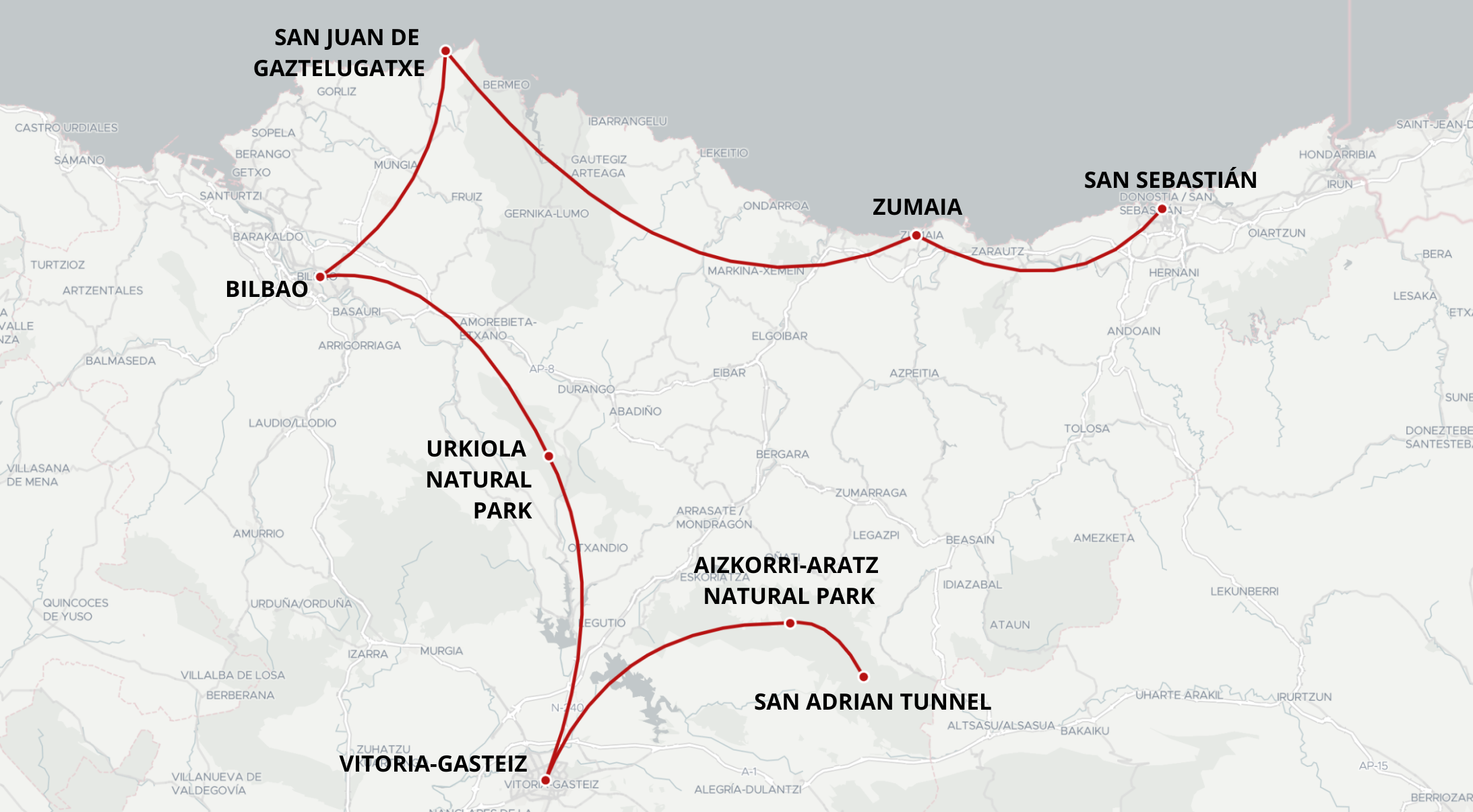 map of basque country travel itinerary