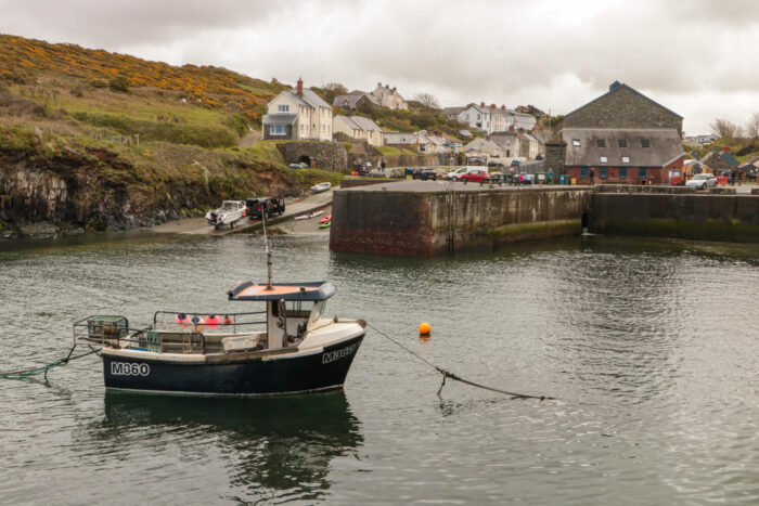 little fishing boat in the village of Porthgain, Wales