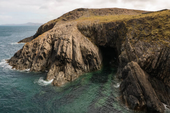 natural cave in the cliffs near Porthgain, Wales